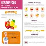 与维生素,健康营养生活方式概念的健康食物Infographics产品 向量例证