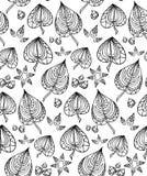 与黑白乱画叶子的无缝的纹理 免版税库存图片