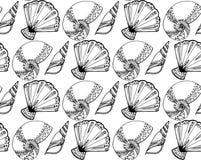 与黑白乱画贝壳的无缝的纹理 库存图片