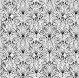 与黑白乱画心脏的无缝的纹理 库存例证