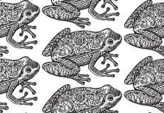 与黑白华丽乱画青蛙的无缝的样式 库存图片