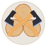 与轴的伐木工人商标 库存例证