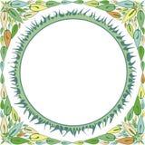 与他们的叶子和草的装饰品的框架 免版税库存图片