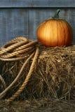 与绳索的大南瓜在干草 库存照片