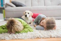 与他们的小狗的逗人喜爱的silblings在地毯 免版税库存照片