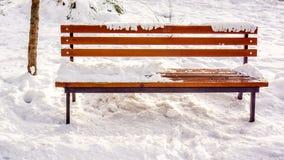 与结的布朗长木凳与对此的白色新鲜的雪在有一个灯笼的冬天公园在背景 免版税图库摄影