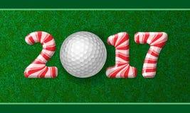 与2017年的棒棒糖数字的高尔夫球 库存照片