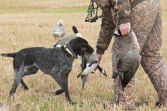 与他的狗的猎人 免版税库存照片