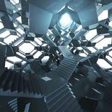 与轻的眼睛的未来派楼梯建筑学 库存图片