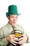 与他的金子的Lepechaun 免版税库存图片