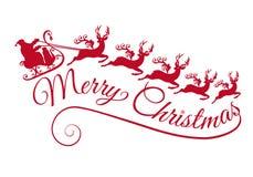 与他的雪橇的圣诞老人和驯鹿,传染媒介 库存图片
