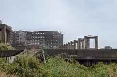 与轻的雾的Gunkanjima 免版税库存照片