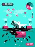 与死的鱼的海鸥和在被污染的海洋infographics的油箱 库存图片