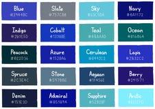 与代码和名字的蓝色音色树荫背景 免版税图库摄影