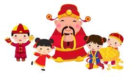 与财神爷和孩子的农历新年设计 皇族释放例证