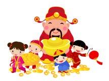 与财神爷和孩子的农历新年设计 向量例证