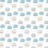 与滑稽的五颜六色的云彩的样式 库存照片