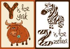 与滑稽的动物牦牛和斑马的儿童字母表 库存照片