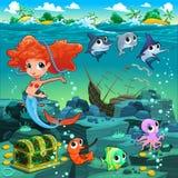 与滑稽的动物的美人鱼在海底上 免版税图库摄影