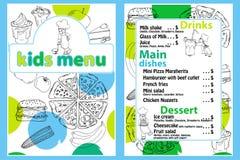 与滑稽的动画片厨房男孩的逗人喜爱的五颜六色的孩子膳食菜单传染媒介模板 盘的不同的类型在手拉的 免版税库存照片