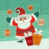 与滑稽的圣诞老人和礼物的圣诞节例证 五颜六色的设计模板 逗人喜爱的圣诞老人 与mas装饰品的Xmas设计 库存图片
