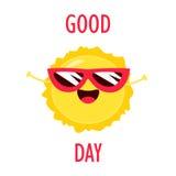 与滑稽的太阳的早晨好卡片在太阳镜 平的样式 也corel凹道例证向量 库存照片