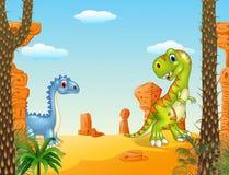 与滑稽的恐龙汇集集合的史前场面 免版税库存图片