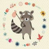与滑稽的浣熊花和鸟的背景 免版税库存照片