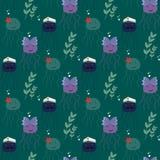与滑稽的海果冻(水母)的无缝的样式 图库摄影