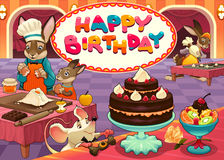 与滑稽的点心师动物的生日快乐卡片 库存图片