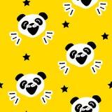 与滑稽的熊猫和星的无缝的样式 向量 库存图片