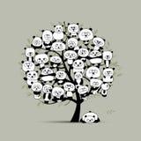 与滑稽的熊猫的树,您的设计的剪影 库存例证