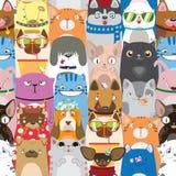 与滑稽的猫和狗的逗人喜爱的五颜六色的样式 向量例证