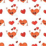 与滑稽的红色心脏字符的无缝的情人节背景 铺磁砖的传染媒介假日纹理 爱包装纸设计 免版税库存图片