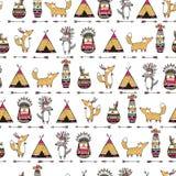 与滑稽的美洲印第安人动物的样式 免版税图库摄影
