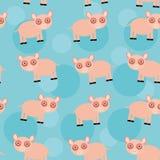 与滑稽的逗人喜爱的动物猪的无缝的样式在蓝色背景 库存图片