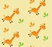 与滑稽的长颈鹿的无缝的样式 库存图片
