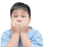 与滑稽的震惊面孔表示的肥胖肥胖亚洲男孩画象 免版税库存照片
