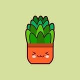 与滑稽的面孔的逗人喜爱的动画片花象在罐kawaii植物字符 平的设计传染媒介 免版税图库摄影