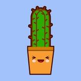 与滑稽的面孔的逗人喜爱的动画片仙人掌象在罐kawaii植物字符 平的设计传染媒介 图库摄影