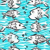 与滑稽的鱼的墨水手拉的无缝的样式 免版税库存照片