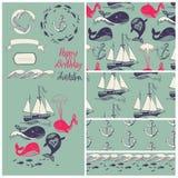 与滑稽的鲸鱼的传染媒介动画片海洋例证。水下的生活。假日卡片 图库摄影