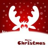 与滑稽的鹿的圣诞节例证 免版税库存照片