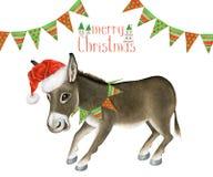 与滑稽的驴的可爱的贺卡圣诞快乐 库存图片