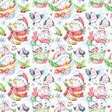 与滑稽的snowmens和小的鸟的水彩无缝的样式 图库摄影