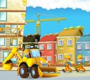 与建筑工人的动画片场面-挖掘机-孩子的例证 库存照片