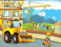 与建筑工人的动画片场面-挖掘机-孩子的例证 免版税库存照片
