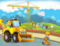 与建筑工人的动画片场面-挖掘机-孩子的例证 库存图片