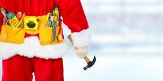 与建筑工具的圣诞老人 库存图片