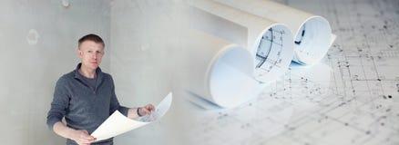 与建筑计划的拼贴画和拿着图纸的工程师 免版税图库摄影